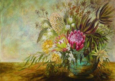 Native Flowers with Gold Pottery Vase